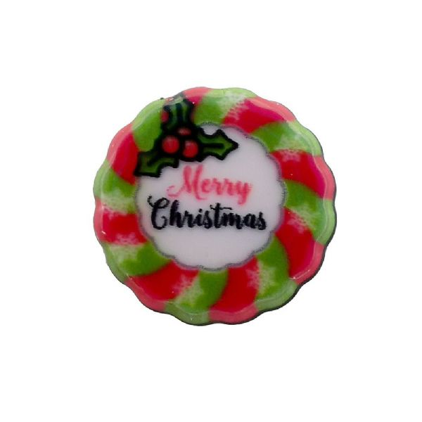 Christmas Wreath Acrylic Flat Back Christmas Charm 12mm